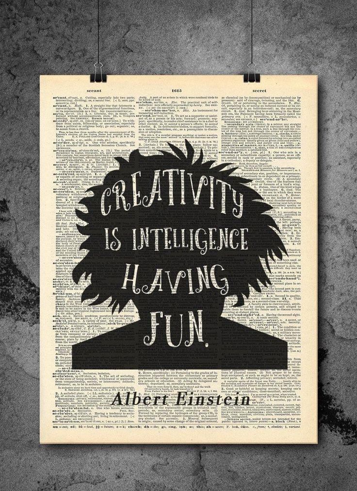Albert Einstein Creativity Quote Vintage Dictionary