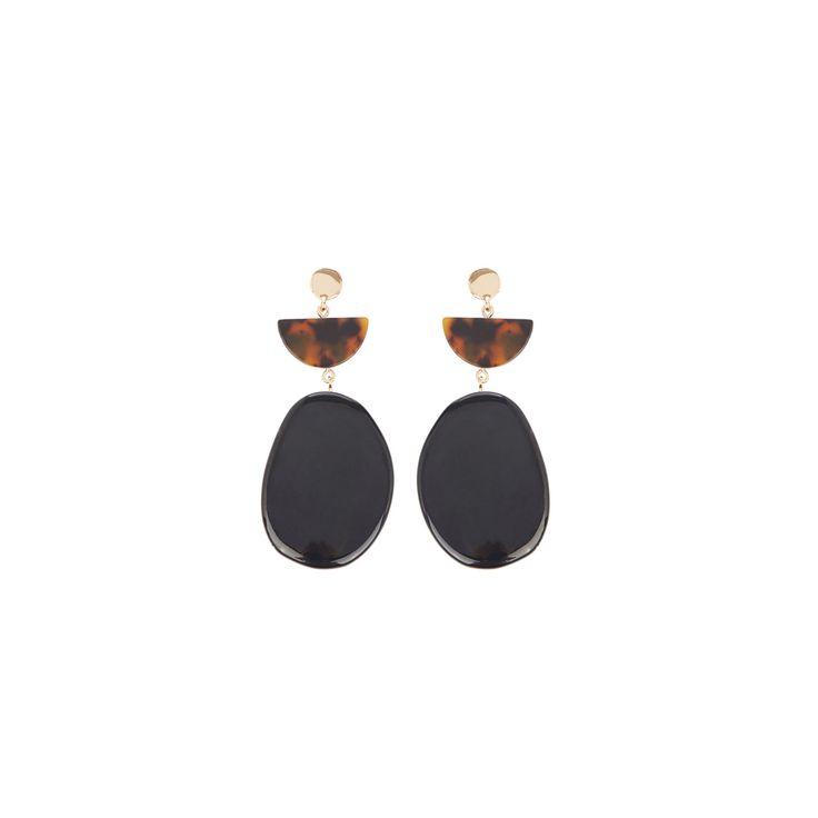 Warehouse, Pebble Drop Earrings Black 0