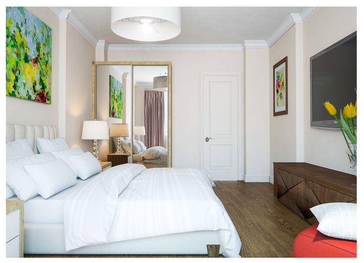 Спальня в  цветах:   Белый, Светло-серый, Темно-коричневый, Бежевый.  Спальня в  стиле:   Минимализм.