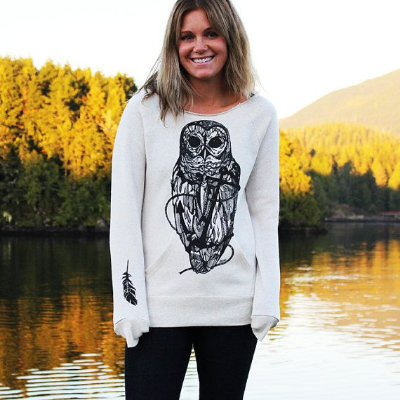 Owl and Anchor Drawing on Ladies Ivory Flashdance by pinastyles, $69.00 www.pinastyles.com #owlshirt