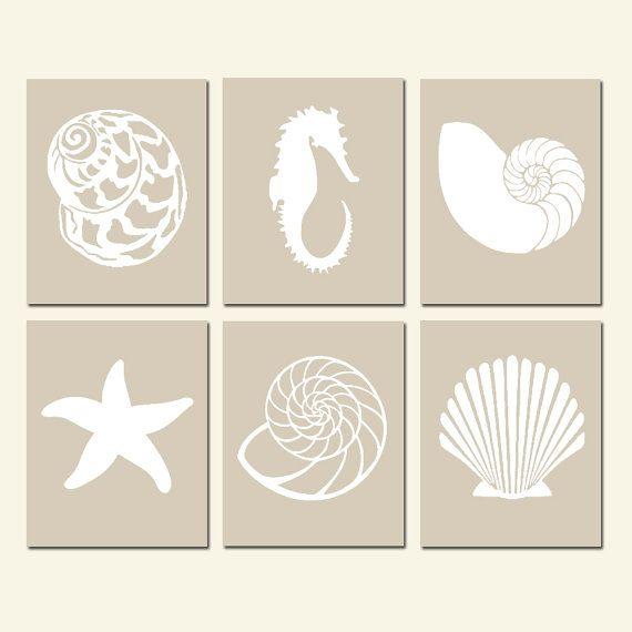 Shell Wall Art Shell Decor Shell Art Seashell Wall Art Seashell Decor Seashell Art Seashell Prints Shell Prints Set of 6 CHOOSE YOUR COLORS | create | Pinteres…