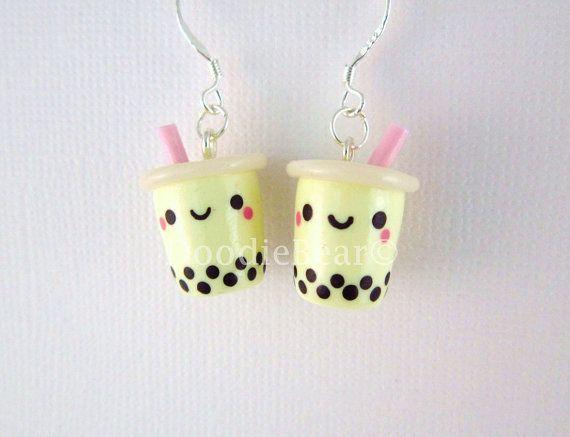 Yellow Bubble Tea Boba Drink Kawaii Polymer Clay by DoodieBear, $13.00