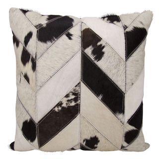 Shop for Mina Victory Dallas Cow Print Chevron Black/White Throw Pillow (20-inch…