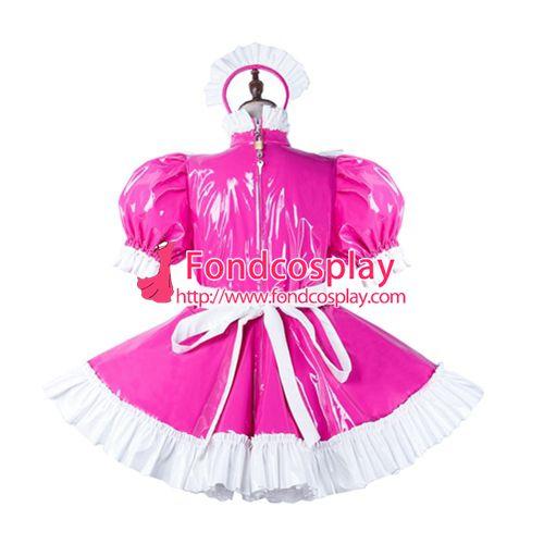 Sissy maid pvc dress lockable Uniform cosplay costume Tailor-made[G2185]