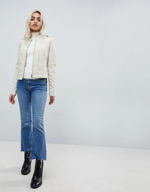 6d7cace4f Vero Moda Petite Leather Look Biker Jacket | clothes | Jackets, Vero ...