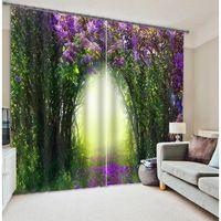 Hohe Qualität Grünen Baum Lila Blume Moderne 3D Vorhänge für Wohnzimmer Rollenvollverdunkelung Moderne Vorhang