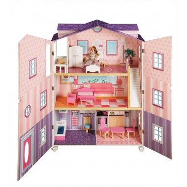 Teamson New York Dollhouse In Pink is one of the best dollhouses for Barbie,  it has a modern yet traditional design with an open and close front just like girls traditional dollhouses.  This one also comes fully furnished with a great range of dollhouse furniture and it rolls on castors.  Great sale price to. #dollhouse #dollhouses #teamsondollhouse, #barbiedollhouse
