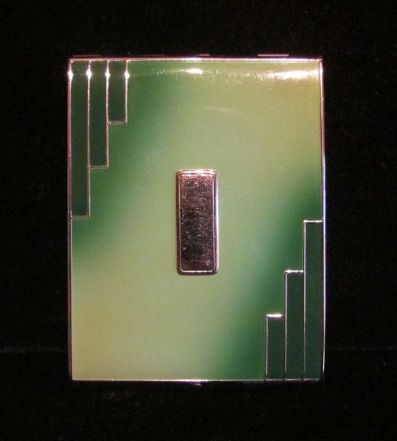 Vintage Cigarette Case Evans 1930s Art Deco Business Card Case Enamel Cigarette Case by carter flynn