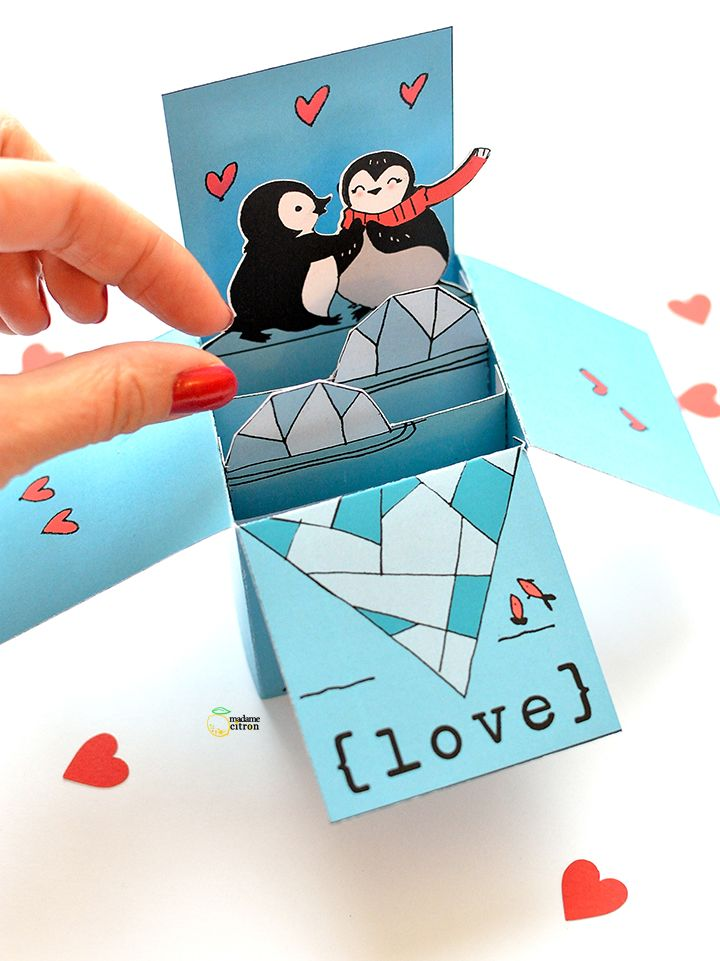 Printable Valentine's Day pop up card