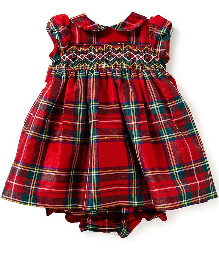 Laura Ashley London Baby Girls Newborn-24 Months Christmas Plaid Smocked Dress