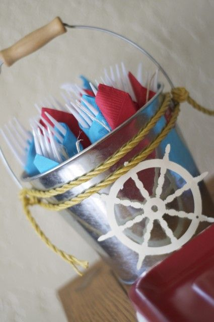 Jake and The Neverland Pirates. Decor ideas. cute silverware holder for nautical themed baby shower