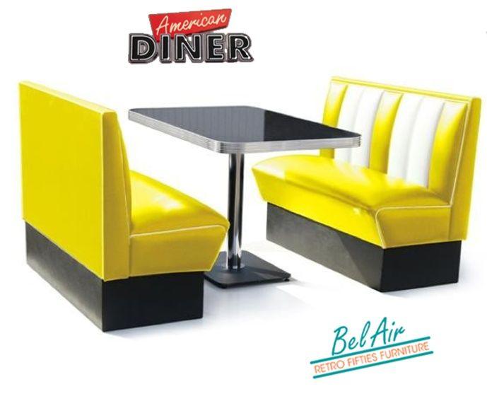 BELAIR HW-120 50's diner booth / YELLOW | Fifties retro furniture + wallart +NEON | Design meubels, Retro verlichting & cadeaushop, Space Age new vintage