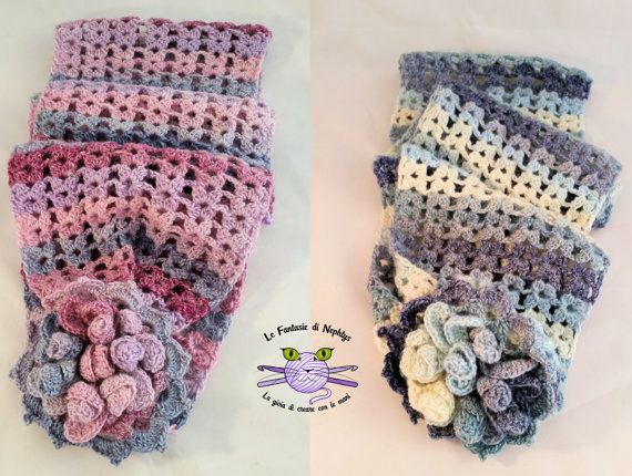 Multicolor Infinity Scarf, handmade crocheted with sewn May flower. You can drape it as you like. You will look great in this truly unique