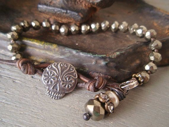 Sugar skull knotted bracelet - Starry Eyed - sterling silver gunmetal gray grey Dia de los Muertos Day of the Dead boho memorial Halloween