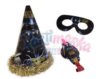 Star Wars Doğum Günü Şapka Maske Düdük Set