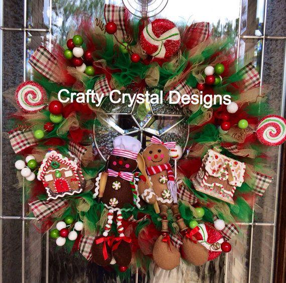 tulle christmas wreaths | Gingerbread Man Wreath Christmas Wreath by CraftyCrystalDesigns