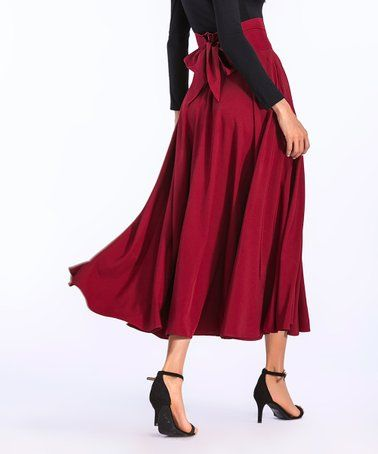 91f2c51f3df1 Love this Red Pocket Pleated Midi Skirt - Women by Coeur de Vague on   zulily!  zulilyfinds