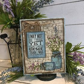 Sample card for Tim Holtz Stampers Anonymous 2017 release Slate & Stone CMS299 Mini Motivation CMS292 Flower Jar CMS297