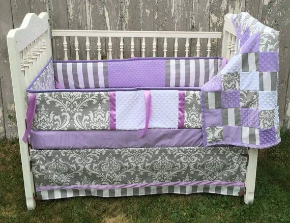 Hey, I found this really awesome Etsy listing at https://www.etsy.com/listing/247721569/purple-grey-baby-crib-set-baby-bedding