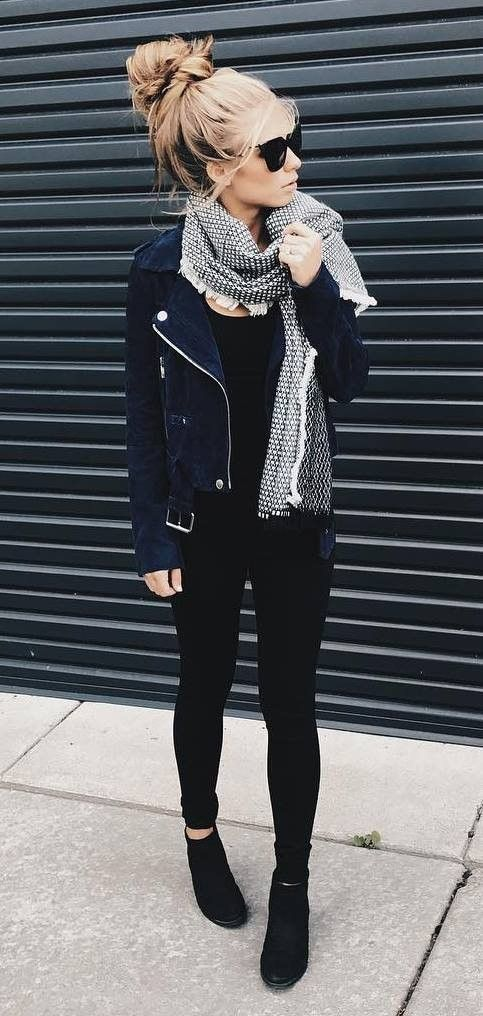 summer outfits Black Leather Jacket + Black Skinny Jeans