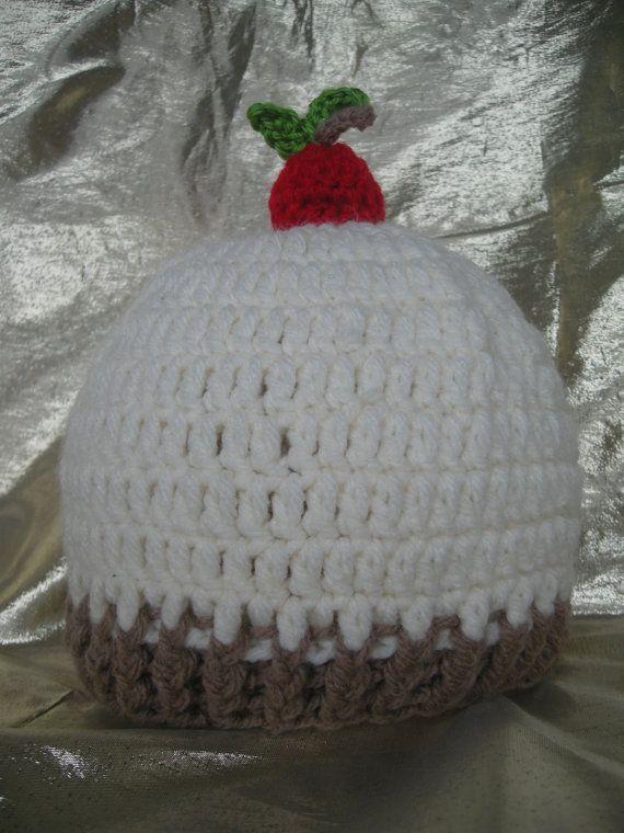 Cherry on top Hat, Baby ha,t Sunday Hat, Newborn, Crochet, handmade by CelinaRoseDesigns on etsy, $15.00
