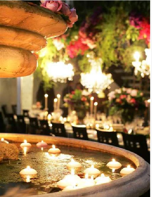 dreamy #wedding #fountain with floating candles - great idea for the @Lairmont Manor fountain!