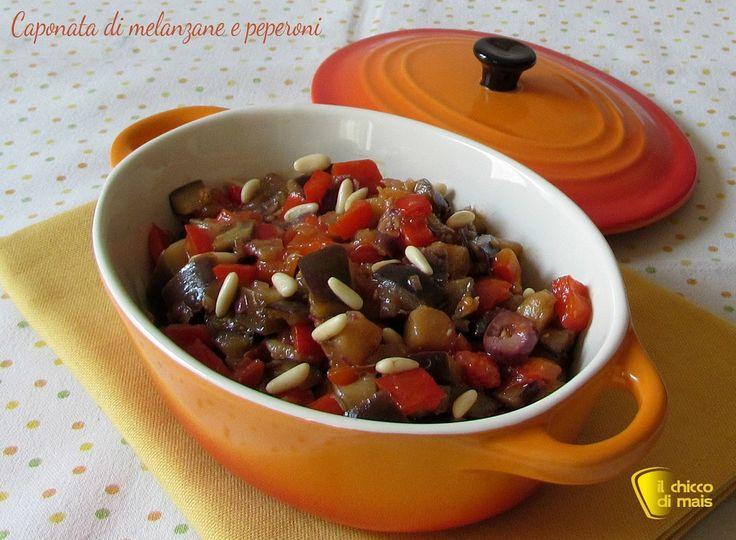 Caponata di melanzane e peperoni, ricetta veloce, gustosa e leggera spiegata e fotografata passo passo per un antipasto o un contorno semplice e appetitoso