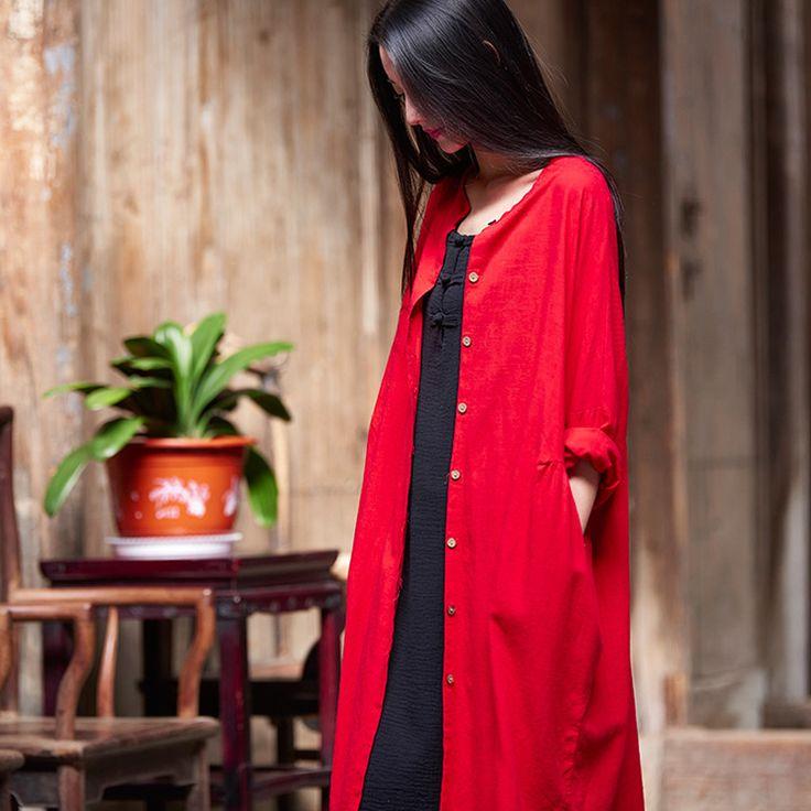 Effen Rood Wit Katoen Linnen Vrouwen Lange Blouse Shirt Losse Casual Zomer lange Shirts Vintage stijl Kwaliteit Nieuwe Tops Blusas B161(China (Mainland))