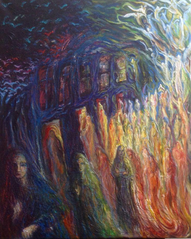 "Three Sisters, Journey series, acrylic on canvas, 16""- 20"" inch, Wakefield Artist Tim Burton."