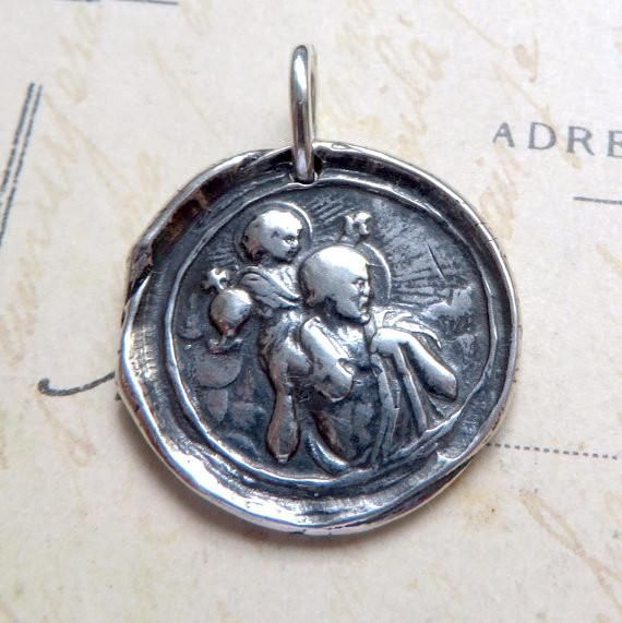 St Christopher Medallion Necklace - Sterling Silver Antique Reproduction