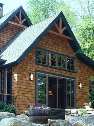 Cedar Siding Stained Red | Timber Frame Home Siding Options | Board And  Batten To Cedar