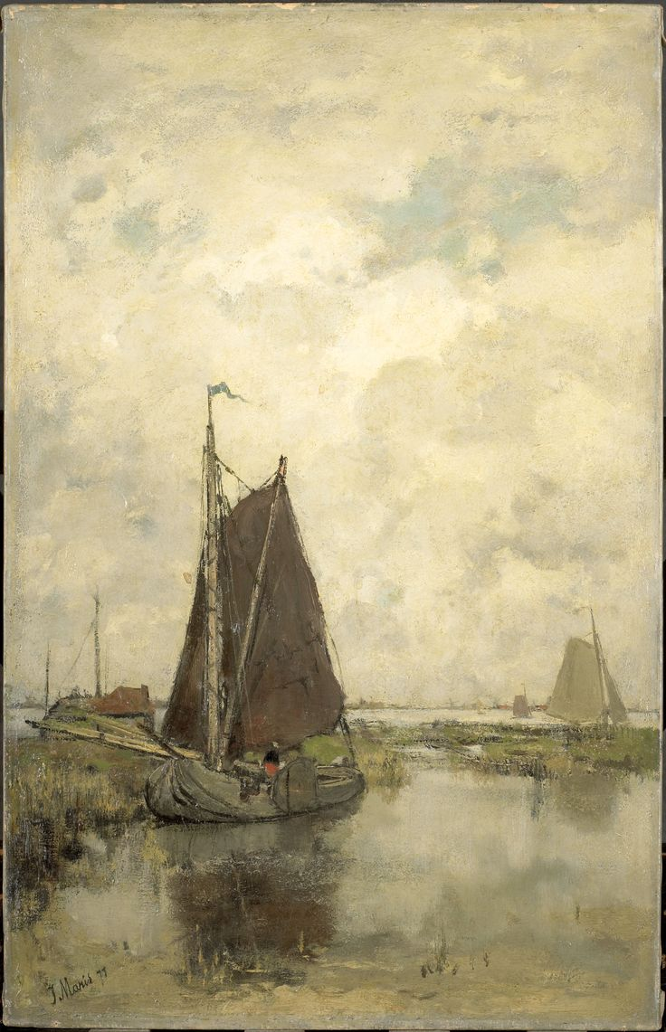 Jacob MARIS (Nederlands kunstenaar, 1837-1899): Grauwe dag met schepen, 1877