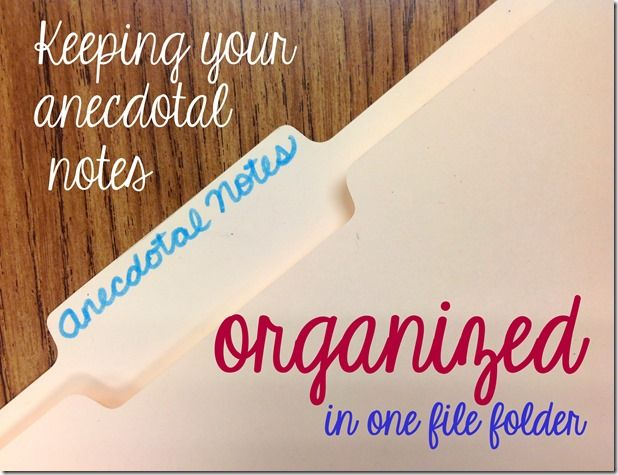 Keeping anecdotal notes organized in ONE file folder! - love how easy and quick this is to put together.