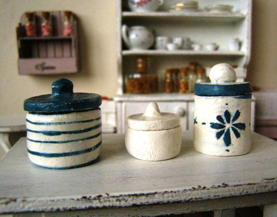 Dollhouse miniature canisters clay canisters 3 by DewdropMinis
