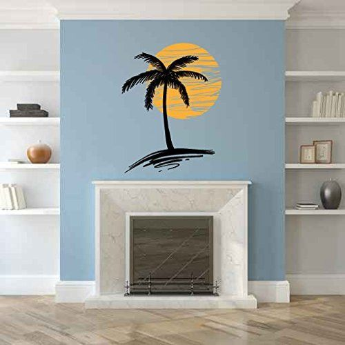 Palm Tree and Sun Silhouette Vinyl Wall Decal Sticker Graphic