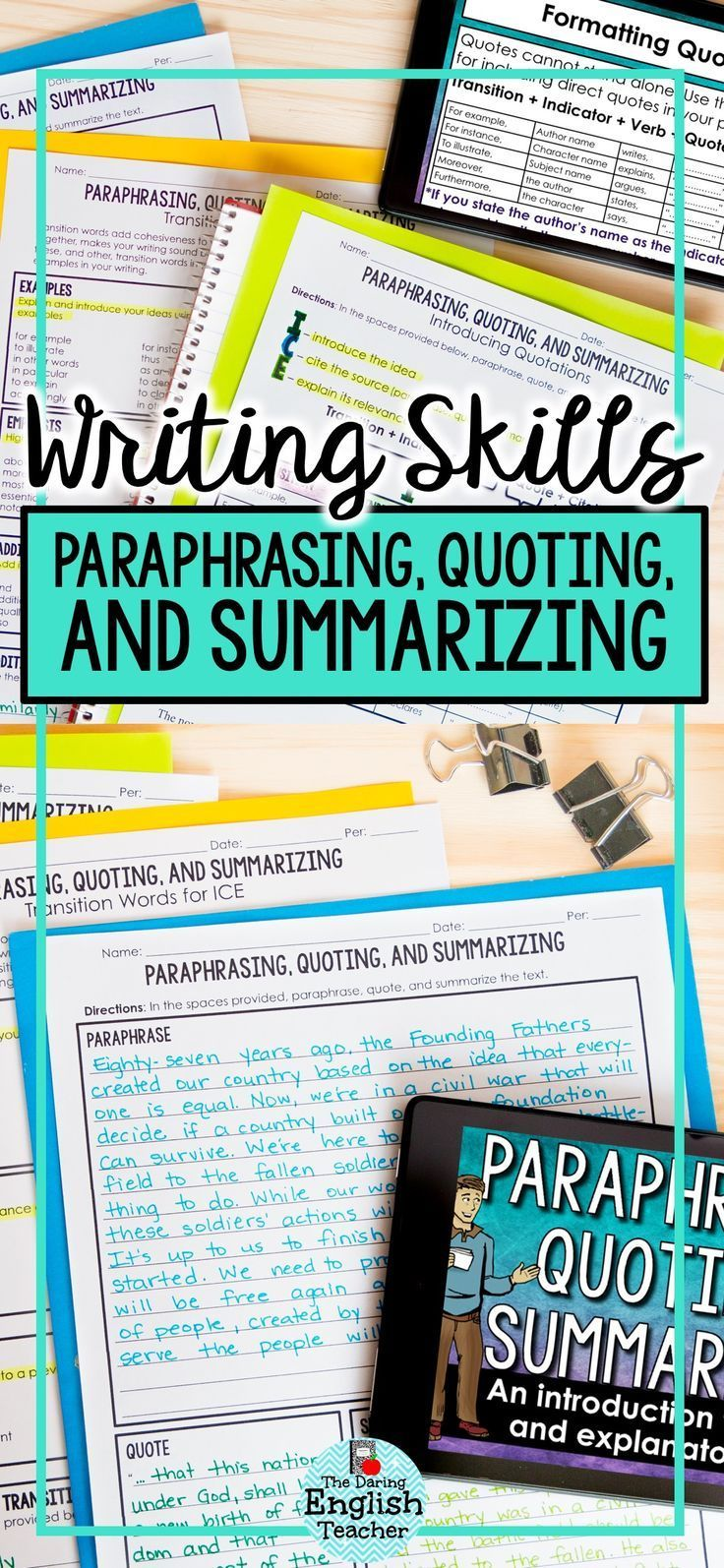 Paraphrase Quote Summarize Teach Your Student How To And Text With T Teaching Summarizing Writing High School Cite Quotes
