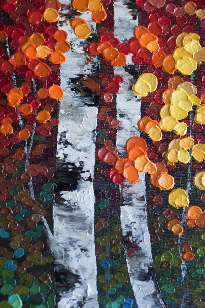Autumn aspen birch tree painting, colourful