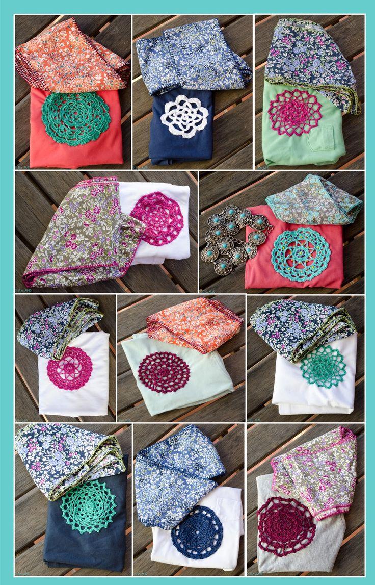 T- Shirts em algodão com aplicações de crochet feitas à mão - cada € 15,00  Écharpes de viscose - cada € 10,00