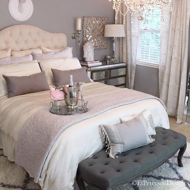 Oh the wonderful little details in this neutral, chic, romantic bedroom - must get end of bed seating so my old chihuahua can get in bed