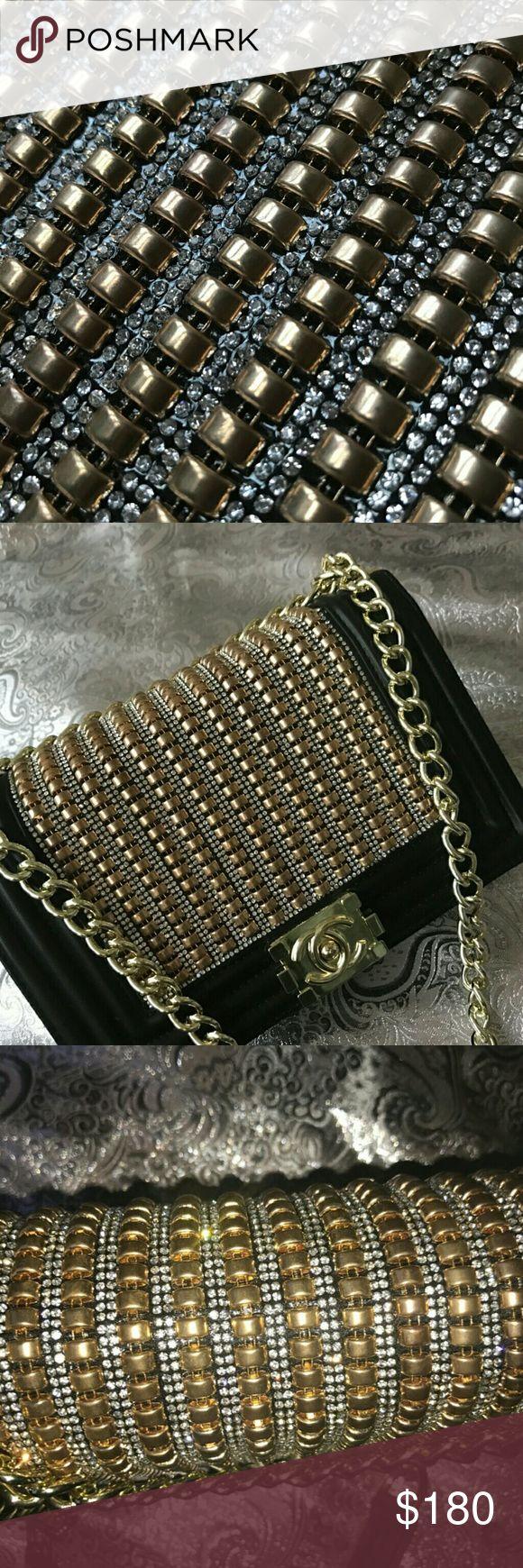 Rhinestone Lux Rhinestone bag, rhinestone purse, studded purse,. Sequin bag, sequin purse, sequin Chanel purse,. Black chanel purse, gold Chanel, silver Chanel purse Bags Crossbody Bags