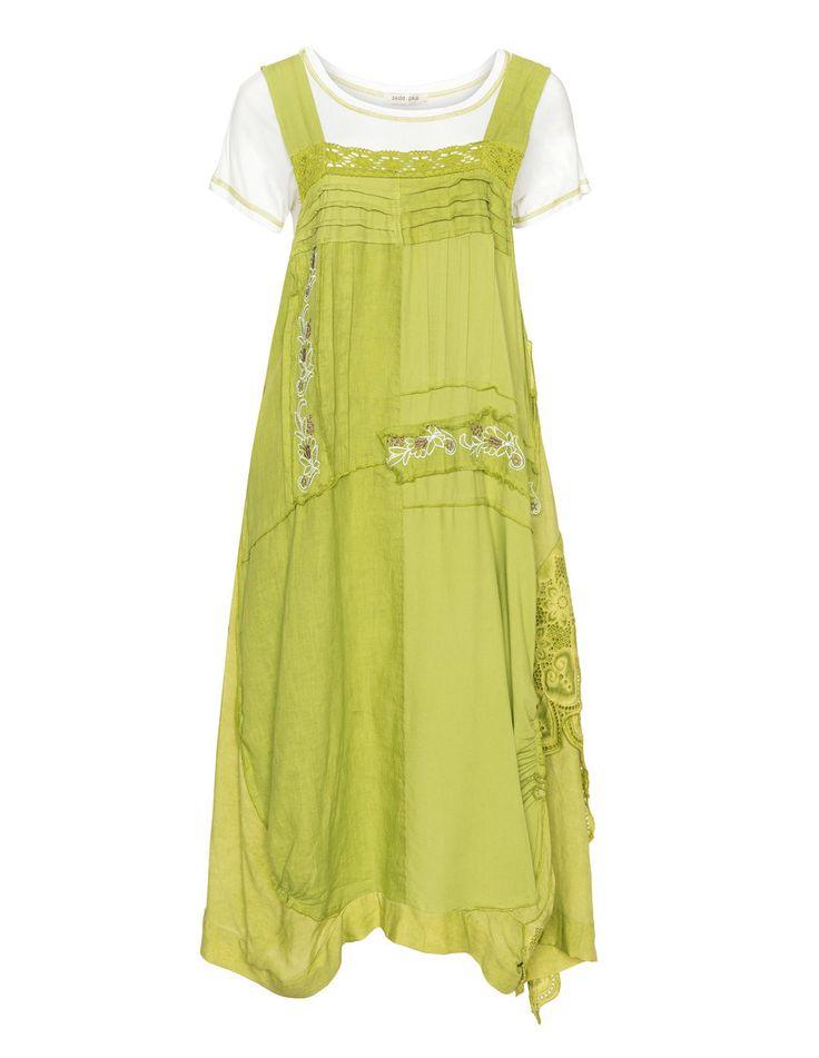zedd plus Sommerkleid aus Leinen-Baumwoll-Mix in Hell-Grün / Creme