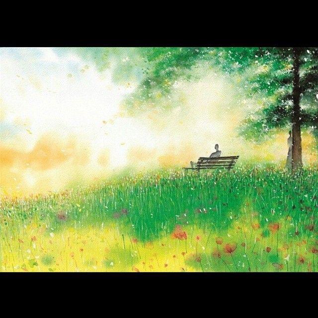 #바라보기 #illustration #일러스트 #손그림 #annetyler #앤타일러 #소설 #놓치고싶지않은이별 #표지 #bookcover #watercolor #남자 와 #여자 그리고 #벤치