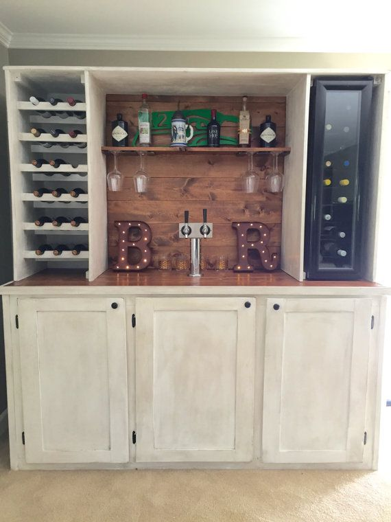 Custom Wet Bar With Kegerator and Wine Cooler