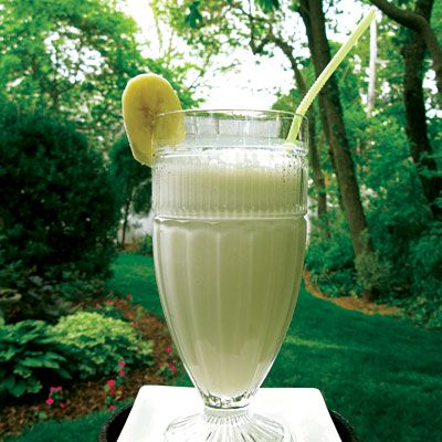 Banana Ginger Energy Smoothie  Ingredients  ½ cup ice  2 cups milk  2 bananas, ripe  1 cup yogurt  ½ tsp. fresh ginger, peeled and grated fine  2 tbsp. brown sugar or honey (optional)    Directions  1. In a blender, add the ice, milk, yogurt, bananas, and ginger.  2. Blend until smooth.  3. Add sugar as needed.