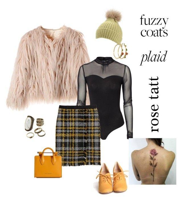 """fuzzy coat  plaid  rose tatt"" by sweetyincago ❤ liked on Polyvore featuring Vero Moda, Chelsea Crew, Gemma Simone, Disney and Strathberry"