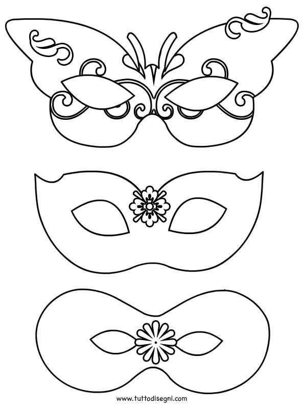 Maschere di Carnevale da ritagliare - TuttoDisegni.com