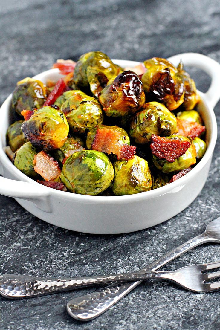 Image of roasted Brussels sprouts with bacon and honey-Sriracha glaze.