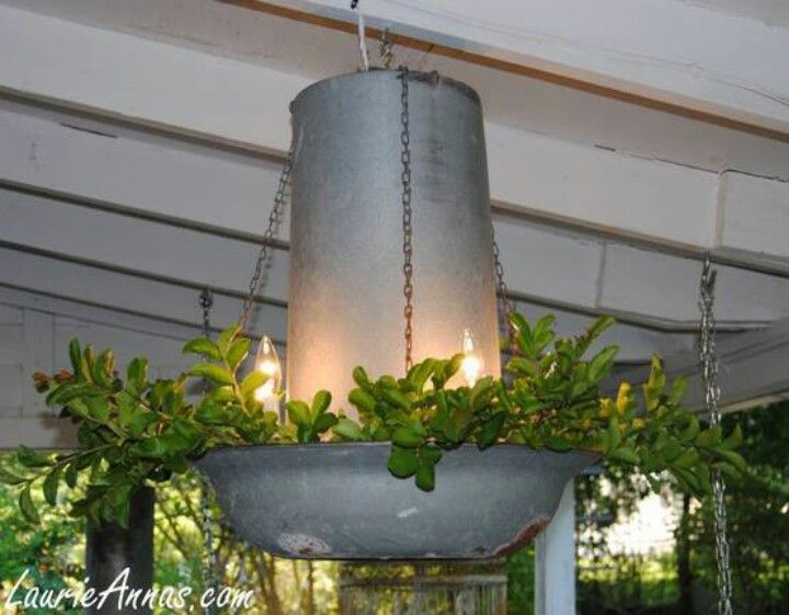 Chicken feeder planter chandelier wedding decorations for Diy chicken feeder light