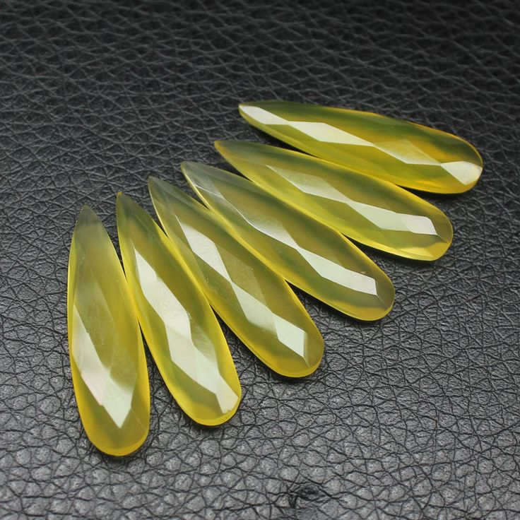 Yellow Chalcedony Faceted pear drop briolette beads – Jewels Exports
