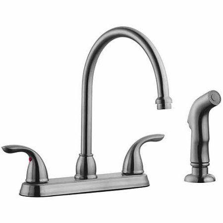 Design House 525089 Ashland High Arch Kitchen Faucet with Sprayer, Satin Nickel Finish, Silver